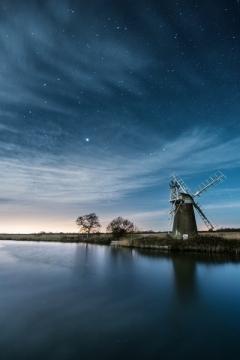 Turf Fen Mill Night Sky