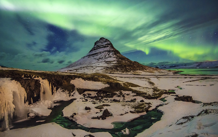 Mount Kirkjufell Aurora