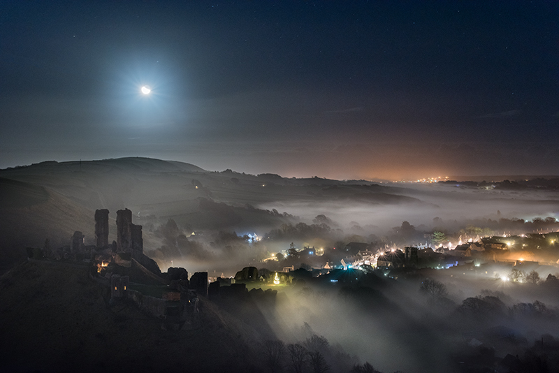 Corfe Castle Mist and Moonlight